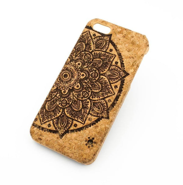 Cork Case Snap On Cover - LOTUS MANDALA - Milkyway Cases -  iPhone - Samsung - Clear Cute Silicone Phone Case Cover