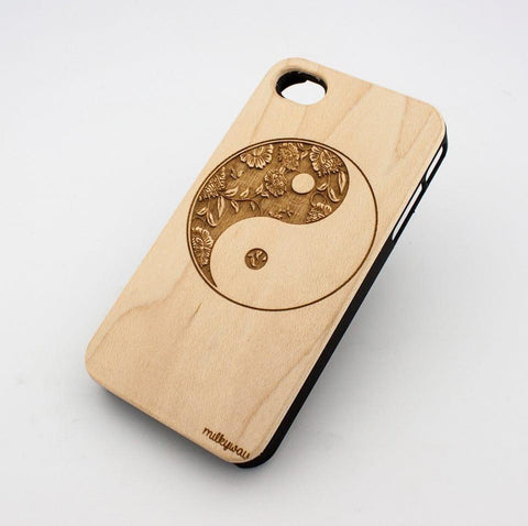 W155 GENUINE WOOD Organic Snap On Case Cover for APPLE IPHONE 4 / 4S - FLORAL YIN YANG