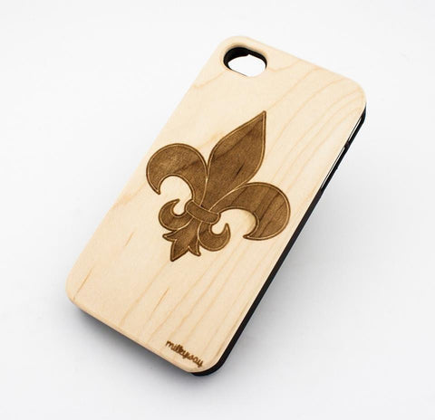 W151 GENUINE WOOD Organic Snap On Case Cover for APPLE IPHONE 4 / 4S - FLEUR DE LIS