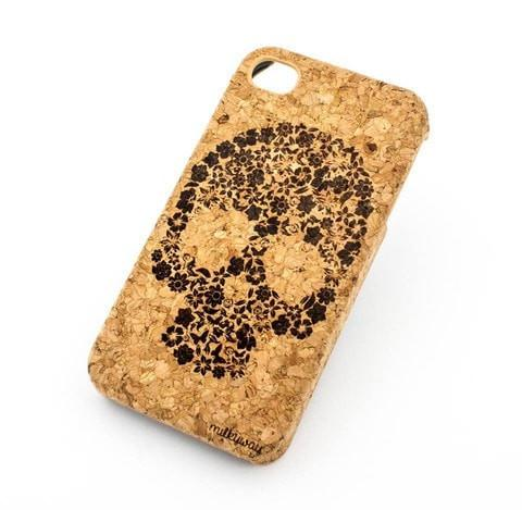 Cork Case Snap On Cover -  KAHOY FLORAL SKULL