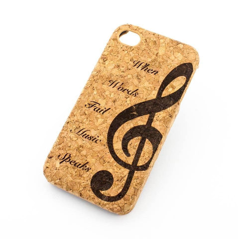 Cork Case Snap On Cover - WHEN WORDS FAIL MUSIC SPEAKS (G CLEF NOTE)