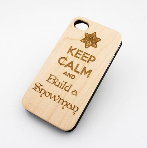 W154 GENUINE WOOD Organic Snap On Case Cover for APPLE IPHONE 4 / 4S - KEEP CALM AND BUILD A SNOWMAN