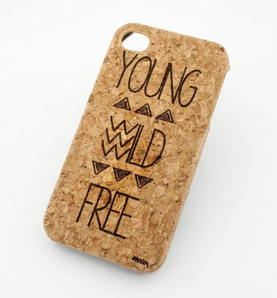Cork Case Snap On Cover - YOUNG WILD AND FREE tribal aztec mayan design hipster triangles - Milkyway Cases -  iPhone - Samsung - Clear Cut Silicone Phone Case Cover
