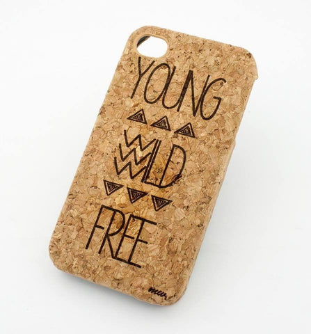 Cork Case Snap On Cover - YOUNG WILD AND FREE tribal aztec mayan design hipster triangles