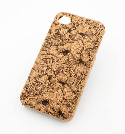 Floral Drawing Cork Case Snap On Cover - Milkyway Cases -  iPhone - Samsung - Clear Cut Silicone Phone Case Cover