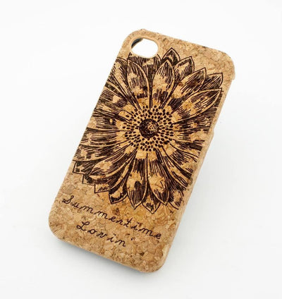 Cork Case Snap On Cover - SUMMERTIME LOVIN' (SUNFLOWER) loving summer love california sun palm tree lotus floral - Milkyway Cases -  iPhone - Samsung - Clear Cut Silicone Phone Case Cover