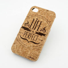 Cork Case Snap On Cover - LIFE IS PERFECT inspirational quotes happy hipster love live laugh