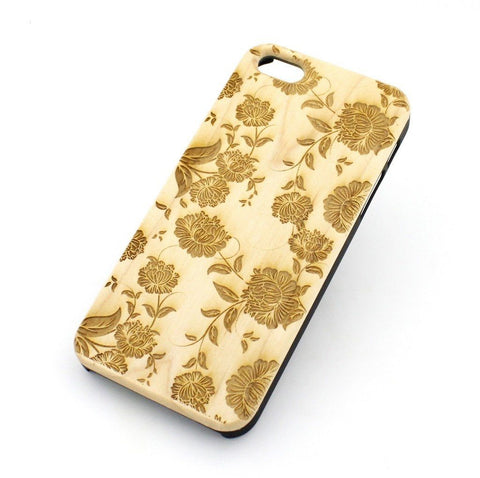 "Genuine Wood Case Snap On Cover for Apple IPHONE 6 (4.7"") - ""Chrysanthemum"" floral flowers oriental japanese blossom"