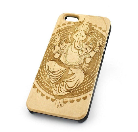 "Genuine Wood Case Snap On Cover for Apple IPHONE 6 (4.7"") - ""Ganesh Queen"" elephant god ganesha hindu indian buddha thai"