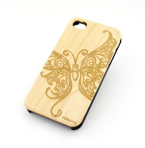 W104 Wood Case - BUTTERFLY