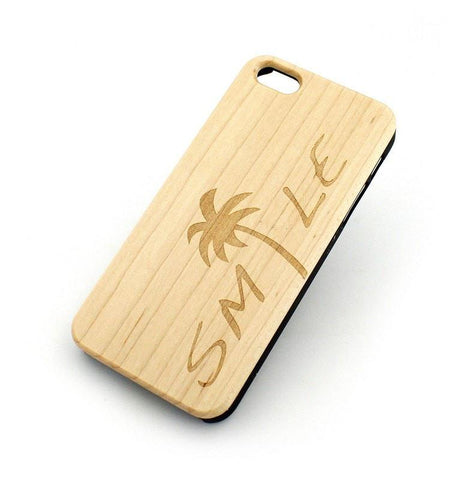 W110 Wood Case - SMILE / PALM TREES