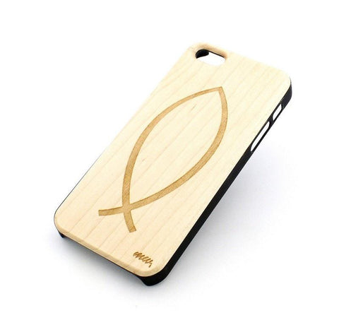 W114 Wood Case - ICHTHUS CHRISTIAN FISH
