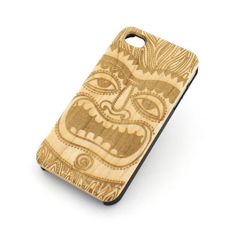 "Genuine Wood Case Snap On Cover for Apple IPHONE 6 (4.7"") - ""Tiki""  maori mytholgy hawaiian hawaii native tribal new zealand"