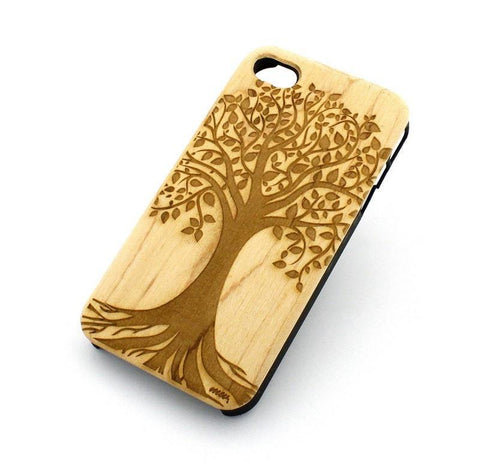 "Genuine Wood Case Snap On Cover for Apple IPHONE 6 (4.7"") - ""Tree of Life"" plant leaves forest garden secret"