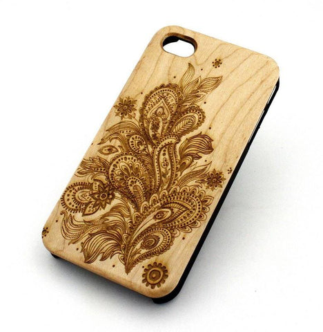 "Genuine Wood Case Snap On Cover for Apple IPHONE 6 (4.7"") - ""Abstract Floral Pattern"" mayan aztec flower rose"