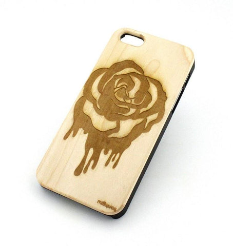W126 Wood Case - DRIPPING ROSE