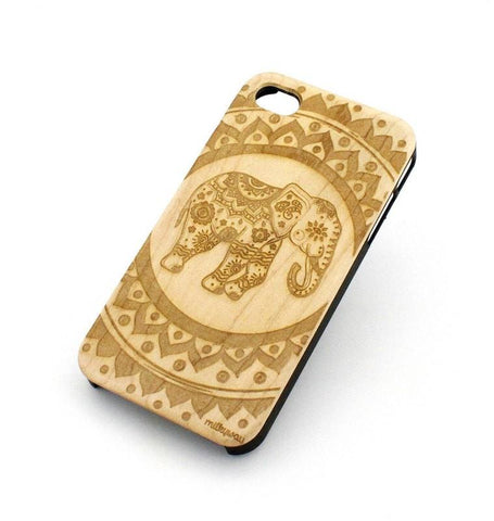 W128 Wood Case - HINDU ELEPHANT MANDALA