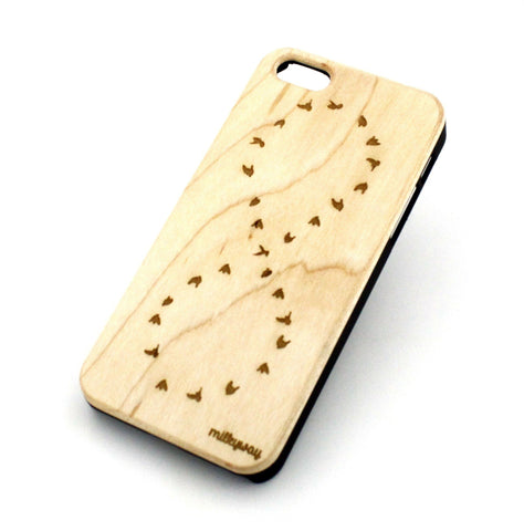 W136 Wood Case for APPLE IPHONE 4 4S Cover - DOVE / INFINITY SYMBOL (FOREVER)