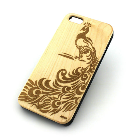 W137 Wood Case Cover in Peacock / Feather Print