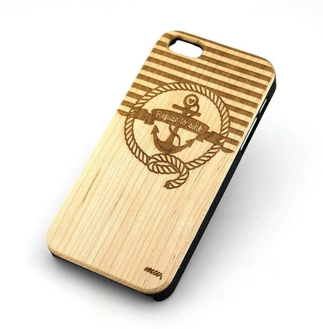 W139 GENUINE WOOD Organic Snap On Case Cover for APPLE IPHONE 4 / 4S - NAUTICAL ANCHOR / REFUSE TO SINK