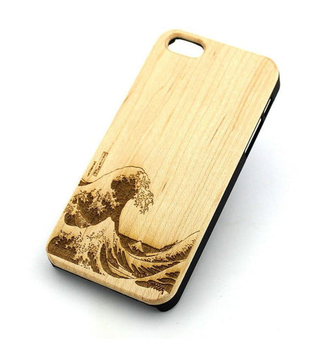 W140 GENUINE WOOD Organic Snap On Case Cover for APPLE IPHONE 4 / 4S - GREAT WAVE OFF KANAGAWA