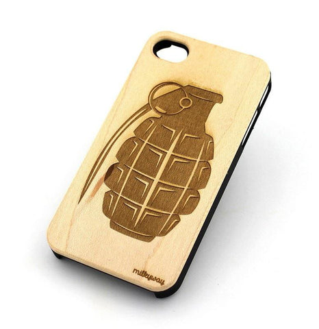 W142 GENUINE WOOD Organic Snap On Case Cover for APPLE IPHONE 4 / 4S - GRENADE