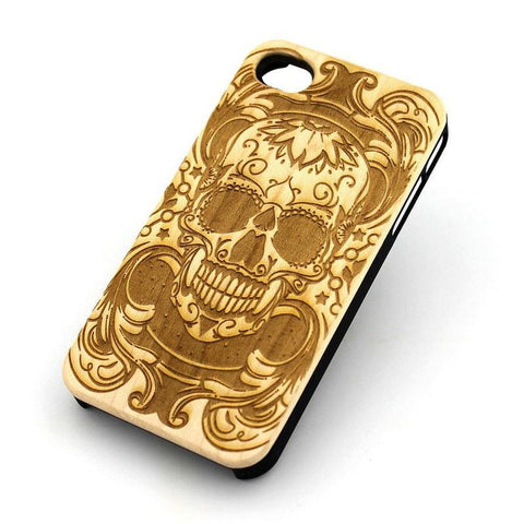 W143 GENUINE WOOD Organic Snap On Case Cover for APPLE IPHONE 4 / 4S - MANIAC SUGAR SKULL