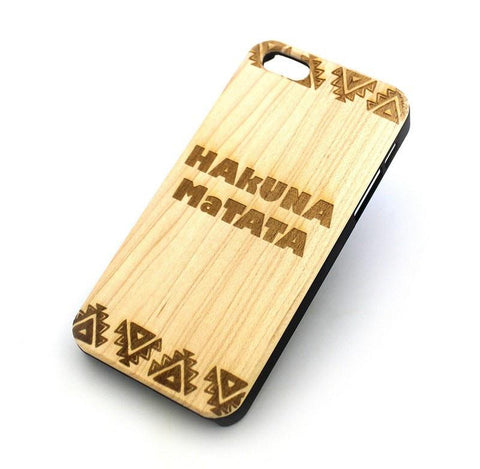 W145 GENUINE WOOD Organic Snap On Case Cover for APPLE IPHONE 4 / 4S - HAKUNA MATATA