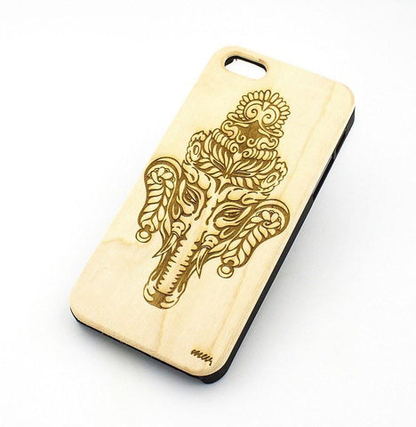 W148 GENUINE WOOD Organic Snap On Case Cover for APPLE IPHONE 4 / 4S - KOLAKOLLI TRIBAL ELEPHANT