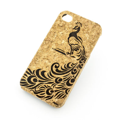 Cork Case Snap On Cover - LA FLEUR PEACOCK - Milkyway Cases -  iPhone - Samsung - Clear Cute Silicone Phone Case Cover