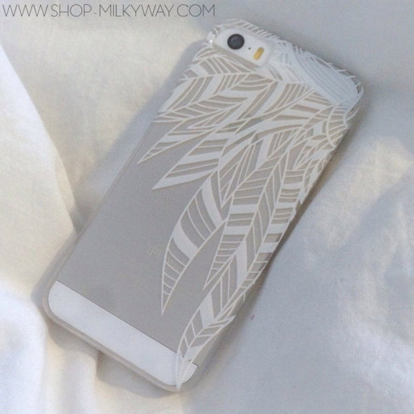 Henna Abstract Feathers - Clear TPU Case Cover Milkyway iPhone Samsung Clear Cute Silicone 8 Plus 7 X Cover