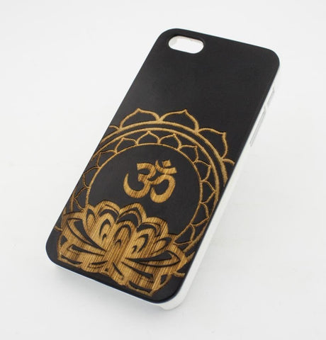 Black Bamboo Wood Case - Ohm in Lotus Mandala