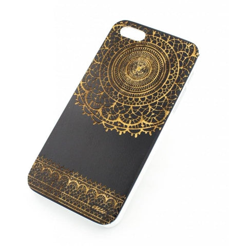 Black Bamboo Wood Case - Sun Lace Mandala