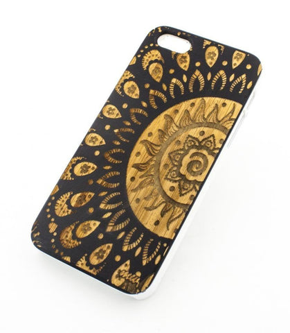 Black Bamboo Wood Case - Sunshine Aztec Mandala