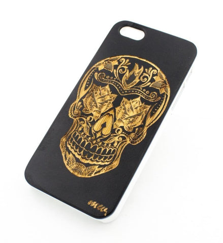 Black Bamboo Wood Case - Rose Eyes Sugar Skull