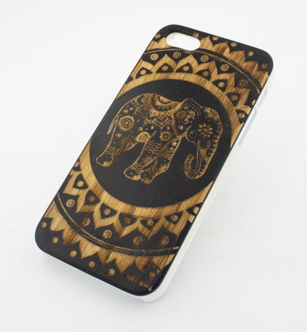 Black Bamboo Wood Case - Hindu Elephant Mandala