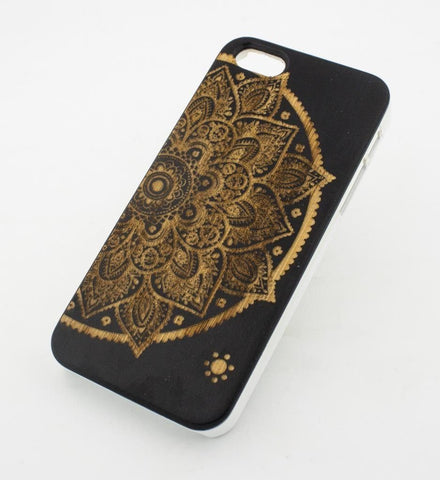 Black Bamboo Wood Case - Lotus Mandala