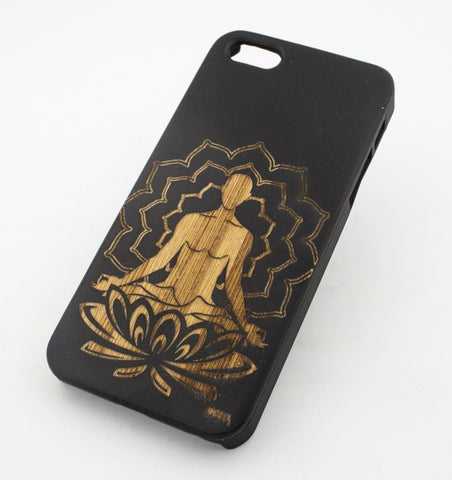 Black Bamboo Wood Case - Lotus Meditating Buddha