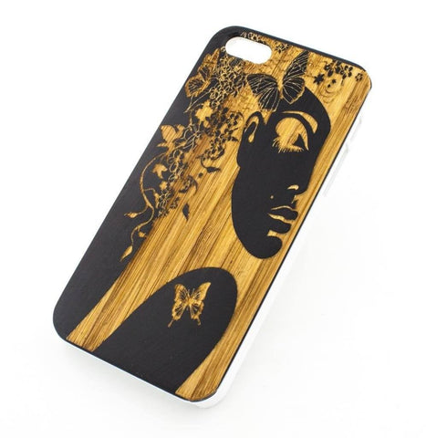 Black Bamboo Wood Case - Butterfly Lady