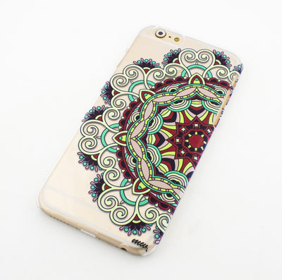 Colored Mandala - Clear TPU Case Cover - Milkyway Cases -  iPhone - Samsung - Clear Cut Silicone Phone Case Cover