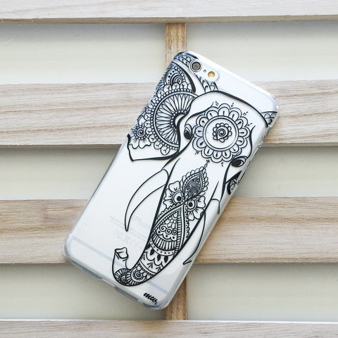 Black Tribal Elephant - Clear TPU Case Cover
