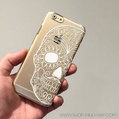Henna Half Sugar Skull - Clear TPU Case Cover Milkyway iPhone Samsung Clear Cute Silicone 8 Plus 7 X Cover