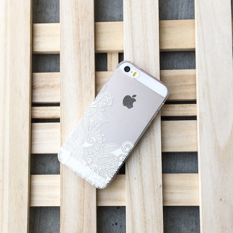 Henna Bottom Floral Paisley - Clear TPU Case Cover
