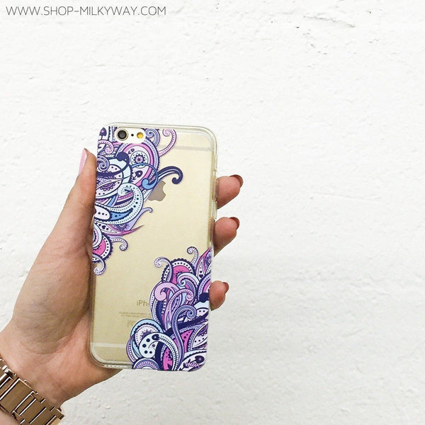 Purple Floresca - Clear TPU Case Cover - Milkyway Cases -  iPhone - Samsung - Clear Cut Silicone Phone Case Cover