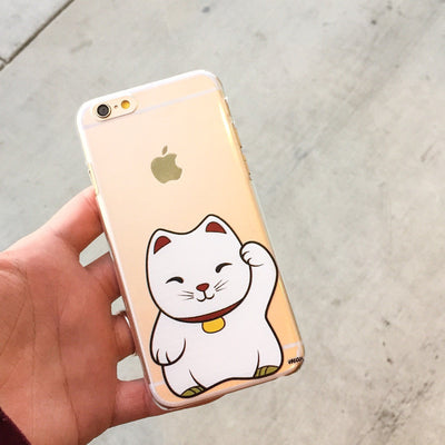 Maneki Neko (Lucky Cat) - Clear TPU Case Cover - Milkyway Cases -  iPhone - Samsung - Clear Cut Silicone Phone Case Cover