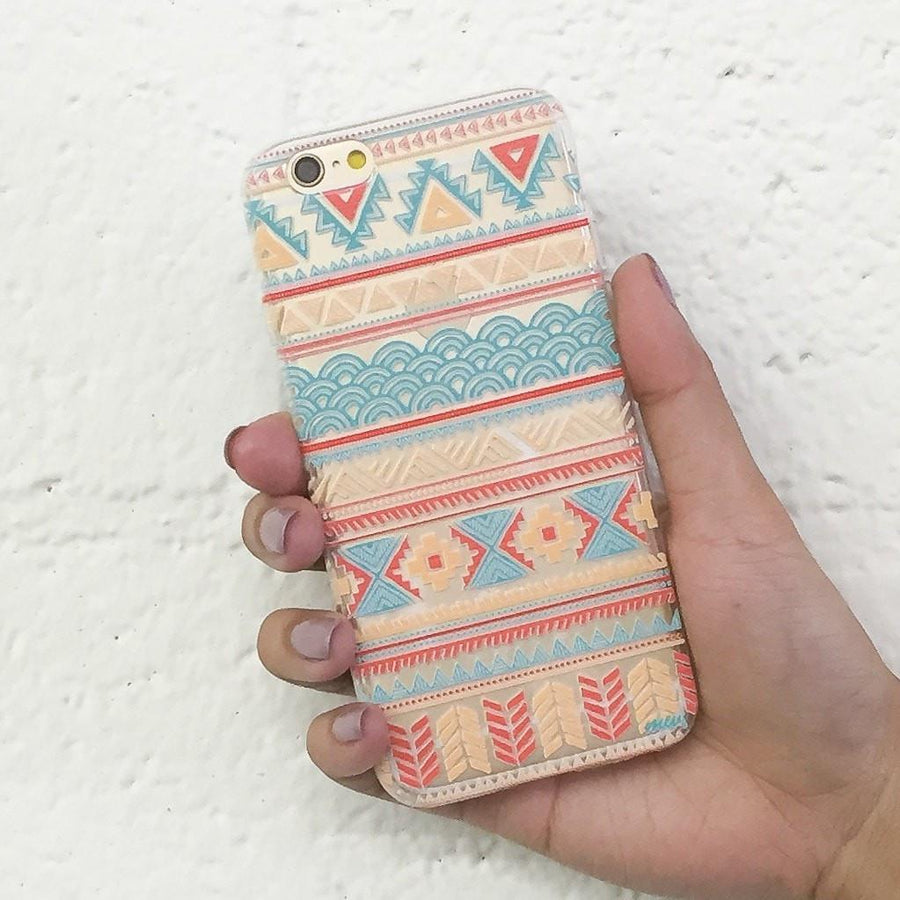 Aztec Tribal Diagram - Clear TPU Case Cover