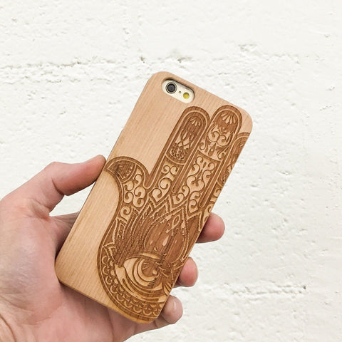 Genuine Wood Case Cover  - Khamsa (Hamsa)