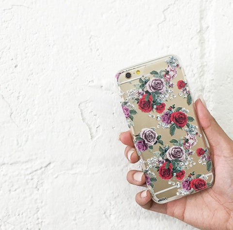 Watercolor Floral Pattern - Clear TPU Case Cover