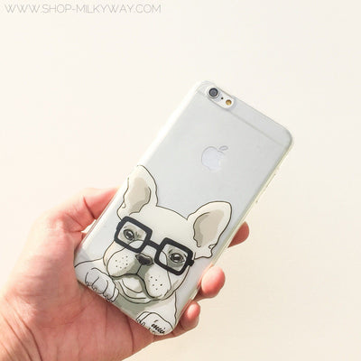 The Frenchie - Clear TPU Case Cover - Milkyway Cases -  iPhone - Samsung - Clear Cut Silicone Phone Case Cover