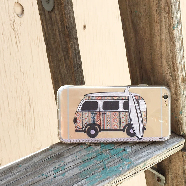 Hipster Van - Clear TPU Case Cover Milkyway iPhone Samsung Clear Cute Silicone 8 Plus 7 X Cover